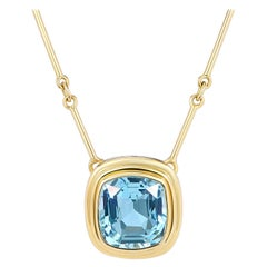 Certified 6.97 Carat Aquamarine Statement Necklace with 18 inch Gold Bar Chain