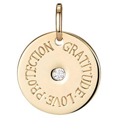 18 Karat Yellow Gold Mantra Charm Pendant