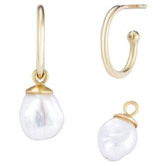 18 Karat Yellow Gold Hoops With Removable White Keshi Pearl Drops