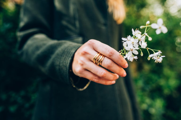 The 5 band gold Berlin ring is a stylish piece of jewellery for all occasions, its modern and very wearable but also makes a statement. Very comfortable to wear. Designed and handcrafted in the UK.   18kt Yellow Gold  Order today and start building