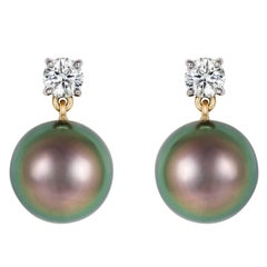 Black Tahitian Pearl White Diamond Gold Drop Earrings