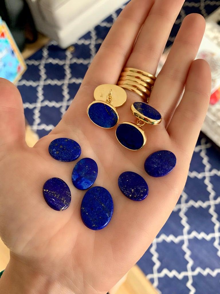 Contemporary Minka, Lapis Lazuli Gold Oval Cufflinks For Sale