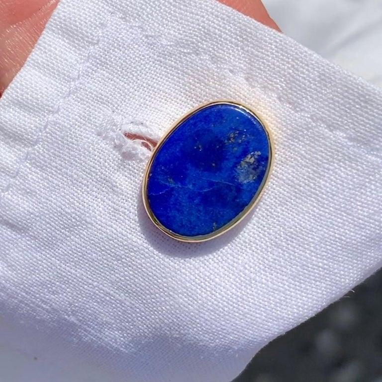 Oval Cut Minka, Lapis Lazuli Gold Oval Cufflinks For Sale