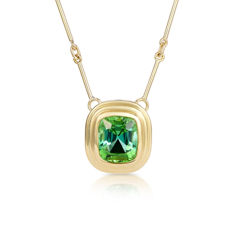 Athena collection by Minka  1 x 5.50ct cushion cut vivid green Tourmaline necklace (18