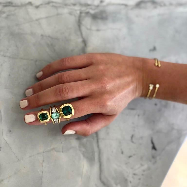 Minka Jewels, Diamond and Tourmaline 5-Stone, 18 Karat Yellow Gold Cocktail Ring In New Condition For Sale In London, GB