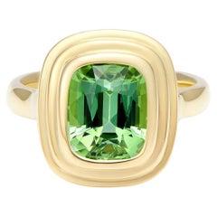 Minka Jewels, 18 Karat Yellow Gold 2.55 Carat Green Tourmaline Cushion Cut Ring