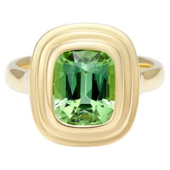 Minka Jewels, 18 Karat Yellow Gold Green Tourmaline Cushion Cut Ring