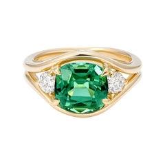 Minka Jewels, 3ct Green, Cushion Tourmaline and Diamond Ring, 14k Yellow Gold