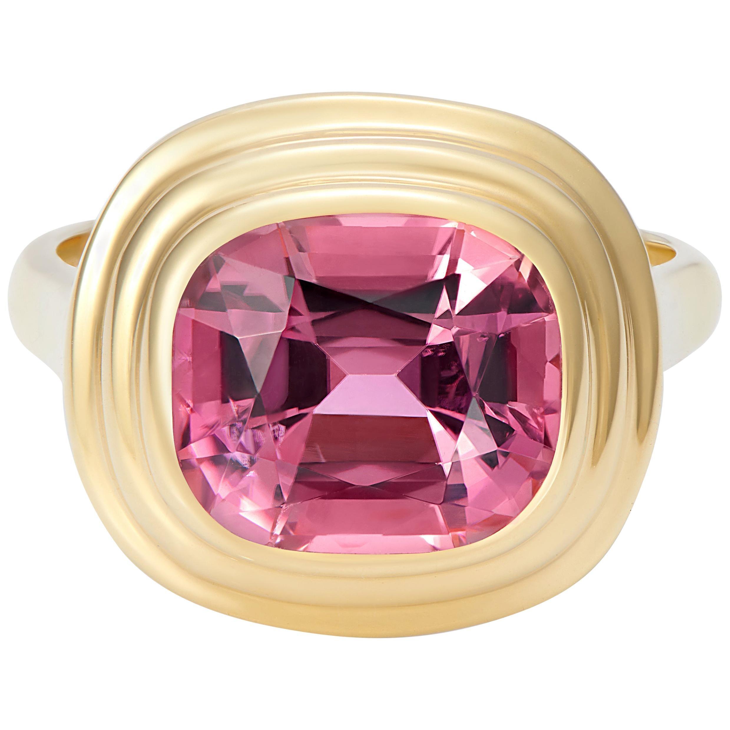Minka Jewels, 4.80 Carat Pink Tourmaline Athena Ring in 18 Karat Yellow Gold