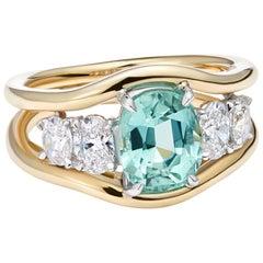 Minka Jewels, Diamond and Tourmaline 5-Stone, 18 Karat Yellow Gold Cocktail Ring
