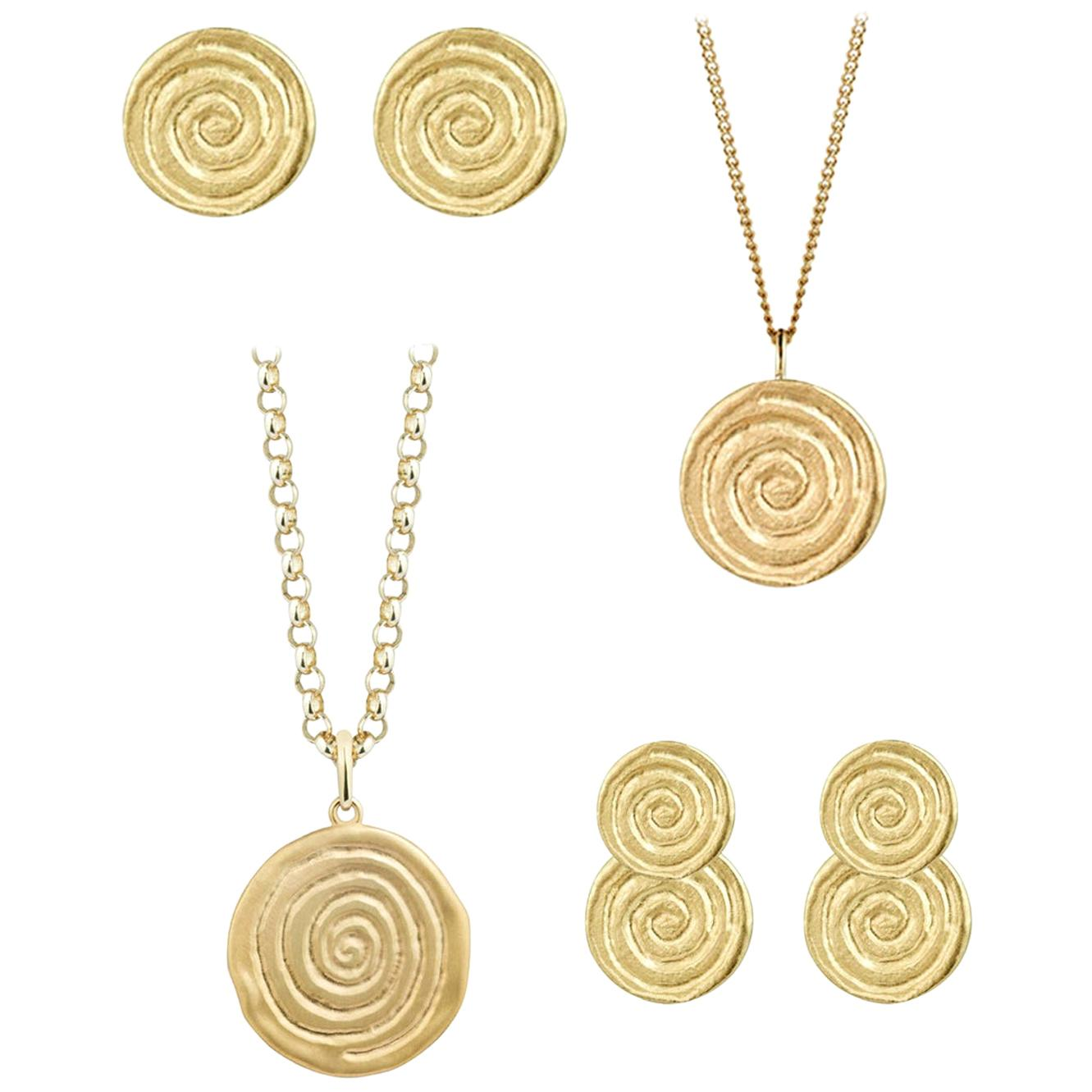 Infinity Spiral Collection 4-Piece Jewelry Suite - Gold Necklace and Earrings