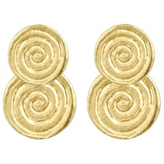 18 Karat Yellow Gold Spiral Stud and Drop Earrings