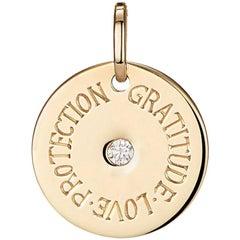 Personalized 9 Karat Yellow Gold and White Diamond Mantra Charm Disc