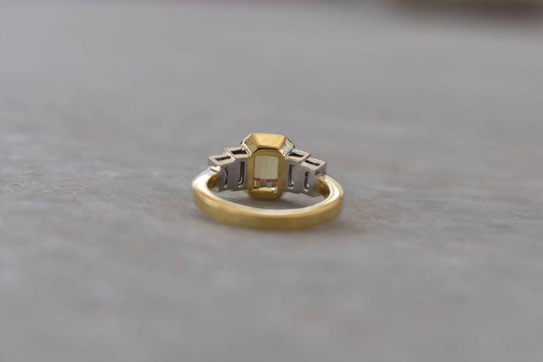 Art Deco Sri Lankan Yellow Sapphire No Heat Baguette Diamond Ring For Sale