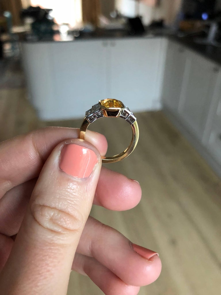 Women's or Men's Sri Lankan Yellow Sapphire No Heat Baguette Diamond Ring For Sale