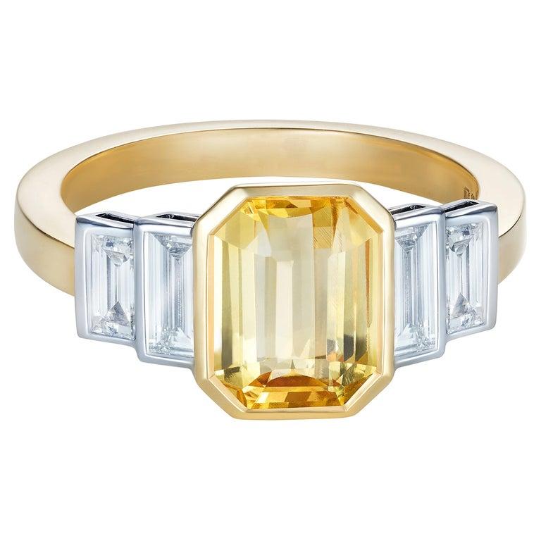 Sri Lankan Yellow Sapphire No Heat Baguette Diamond Ring For Sale
