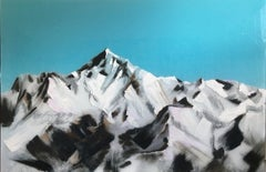 Everest - contemporary modern mixed media landscape mountain art