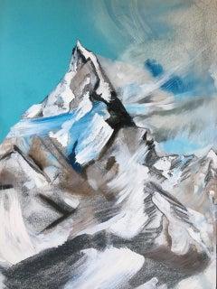 Pirin - contemporary modern mixed media landscape mountain art