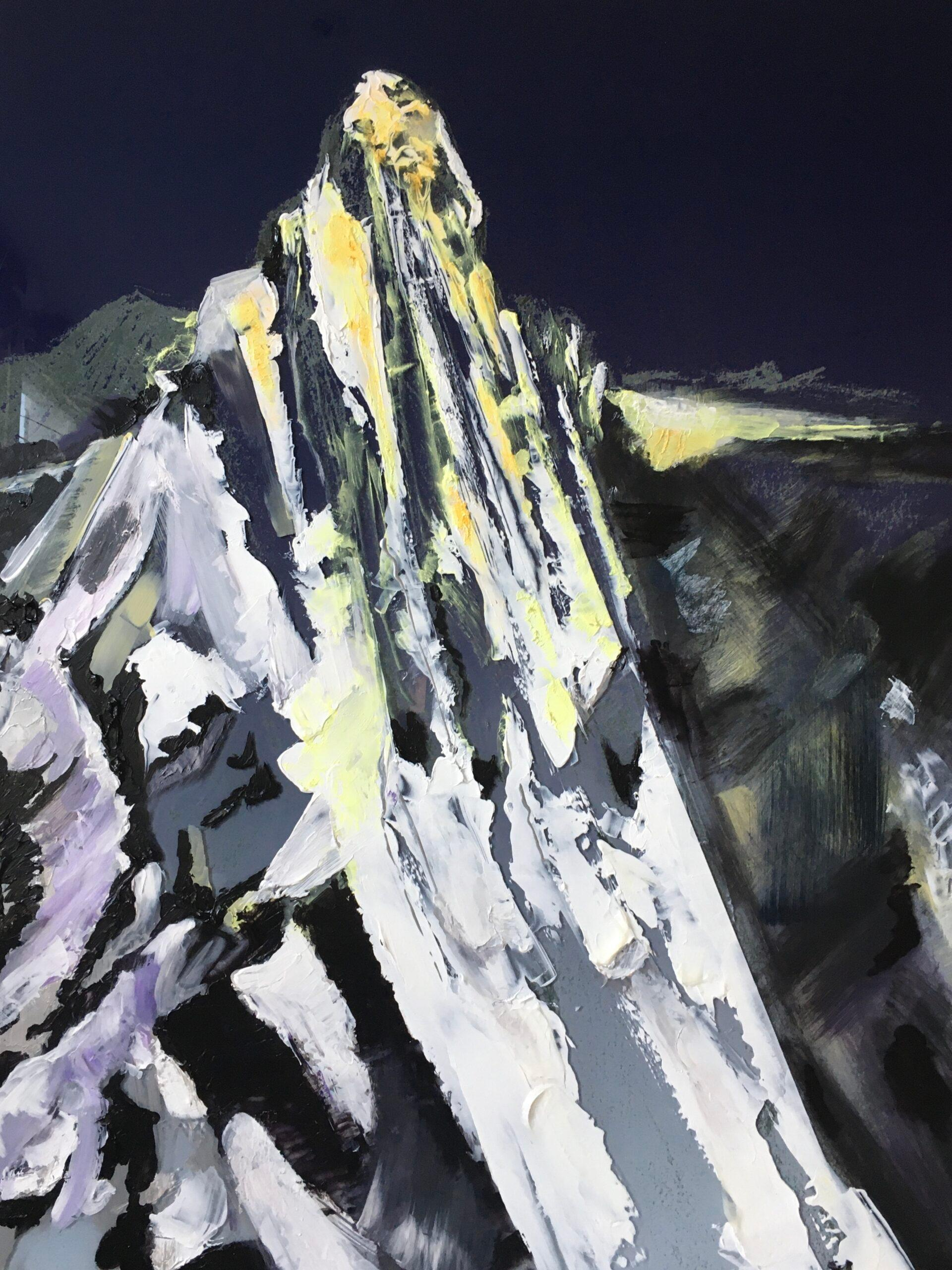 Puncakjaya - contemporary modern mixed media landscape mountain artwork charcoal