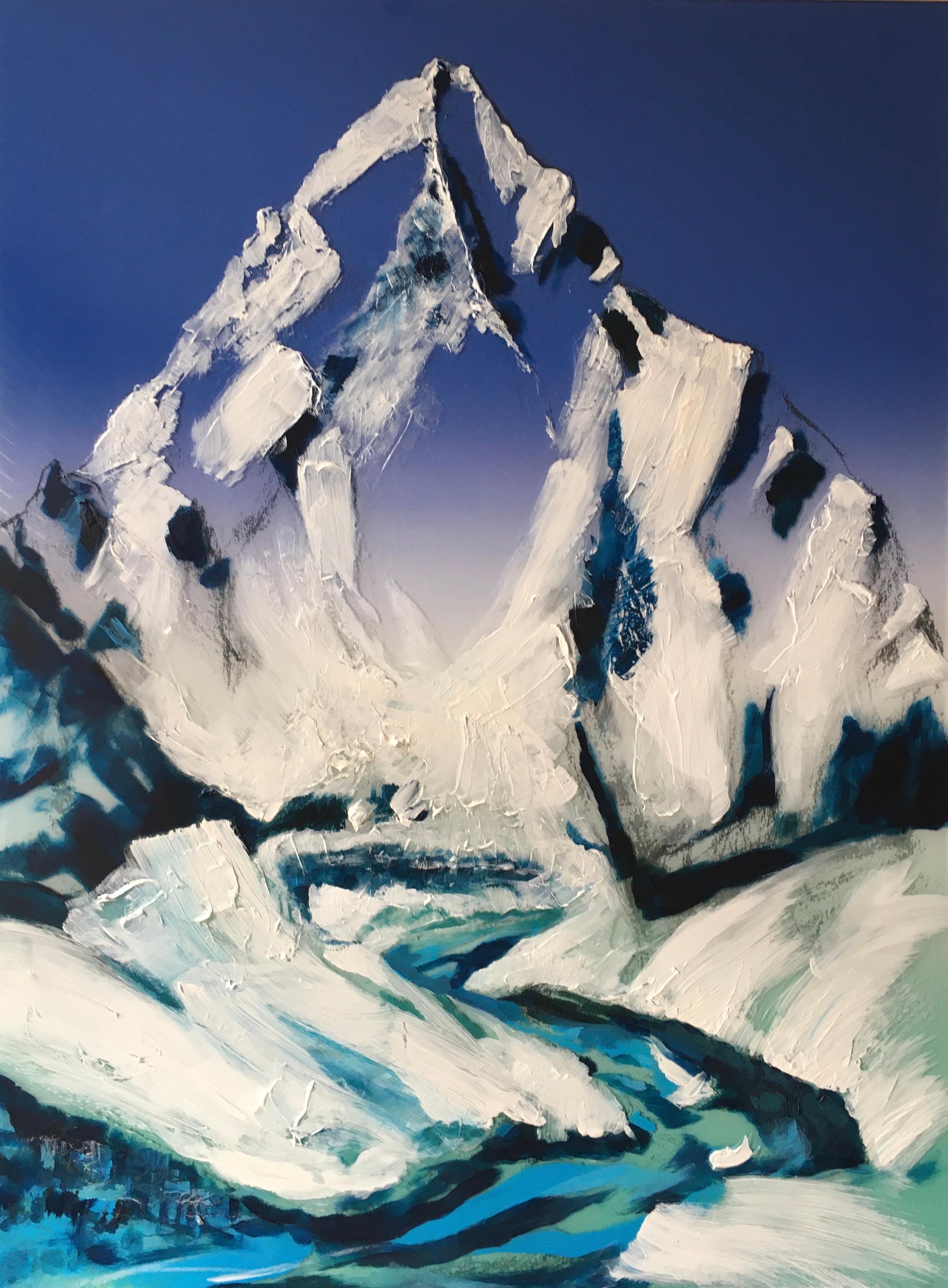 The Descent-K2 - contemporary modern mixed media landscape mountain art