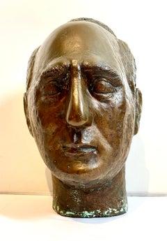 Bronze Modernist Sculpture Portrait, Leo Stein by Minna Harkavy WPA Artist