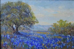 """""""Texas Bluebonnets'""""  Texas Hill Country with strong oak tree"""