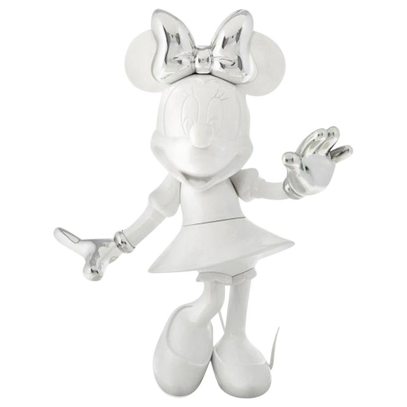 In Stock in Los Angeles, Minnie Mouse White & Silver, Pop Sculpture Figurine