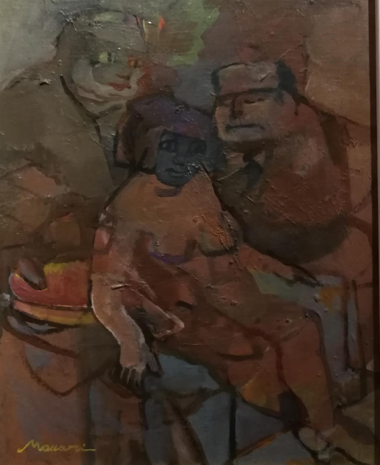 Signed M. Maccari Post Impressionist Figurative Painting dated 1956 oil canvas