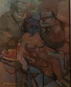 Mino Maccari, Deception, 1956, oil on canva, signed, dated and titled