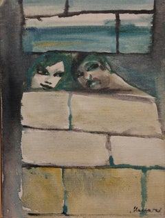 Mino Maccari, lovers, 1970s, oil on canvas, signed