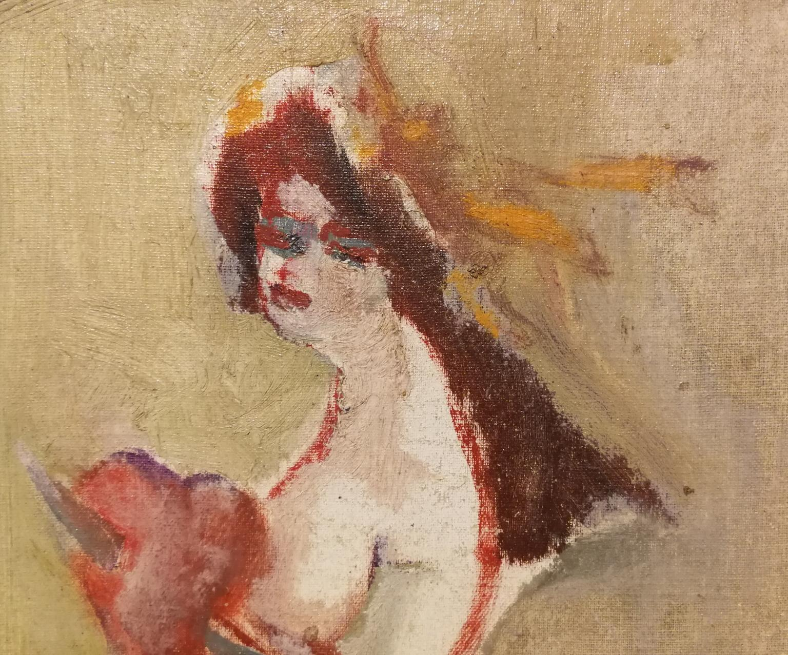 Signed M Maccari Post Impressionist Painting dated 1958 oil canvas cardboard