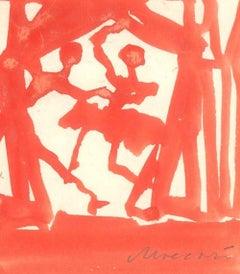 The Telephone - Original Tempera on Cardboard by M. Maccari - 1975