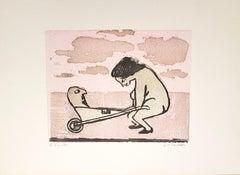 A Woman Playing - OriginalWoodcut by Mino Maccari - 1960