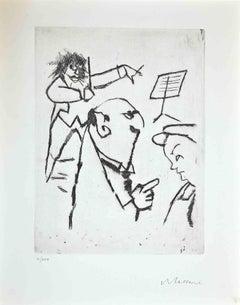 At the Concert - Original Print by Mino Maccari - 1970s