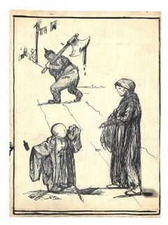 Beggars and Austrian Soldier - Original Drawing by Mino Maccari - 1915