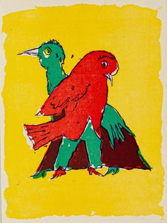 Birds - Original Woodcut by Mino Maccari - Mid 20th Century