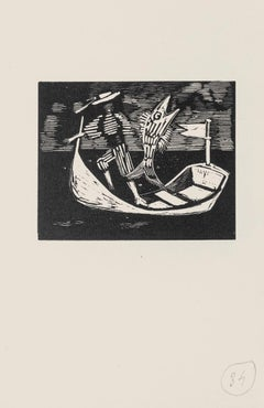 Boatman and Fish - Original Woodcut by Mino Maccari - Mid-20th Century