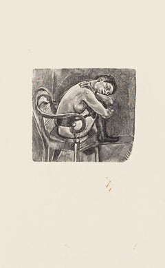 Chained Nude - Original Zincography by Mino Maccari - 1970s