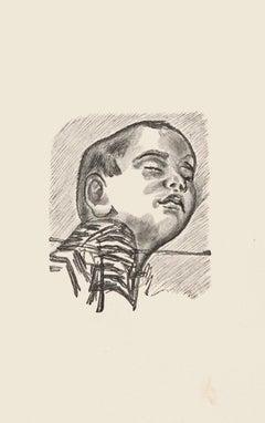 Child - Original Zincography by Mino Maccari - 1970s