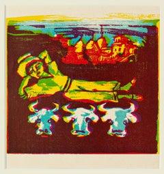 Cowboy - Original Woodcut Print by Mino Maccari - Mid 20th Century