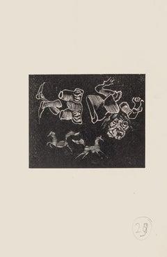 Dreamy - Original Woodcut on Paper by Mino Maccari - Mid-20th Century