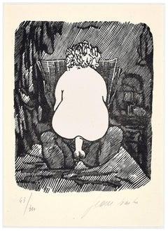 Erotic Scene - Linocut on Paper by Jean Barbe / Mino Maccari - 1945