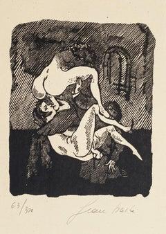 Erotic Scene - Original Woodcut by Mino Maccari - 1944