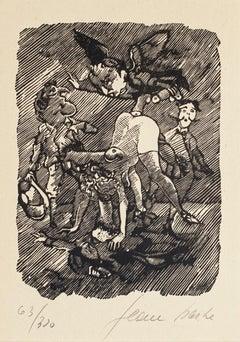 Erotic Scene - Original Woodcut by Mino Maccari - 1945