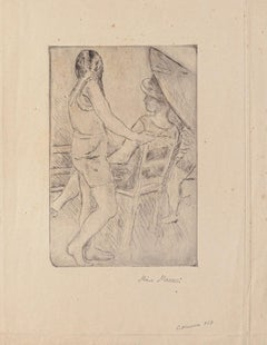 Figure - Original Drypoint on Cardboard by Mino Maccari - Early 20th Century