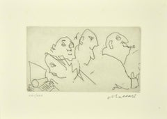 Figure - Original Etching on Paper by Mino Maccari - 1980s