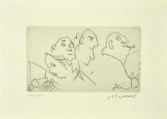 Figure - Original Etching on Paper by Mino Maccari - 1980s