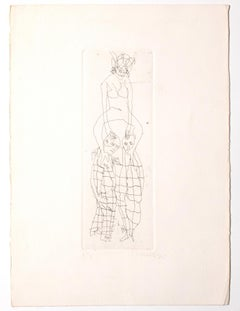 Figures - Original Etching on Paper by Mino Maccari - 1960 ca.