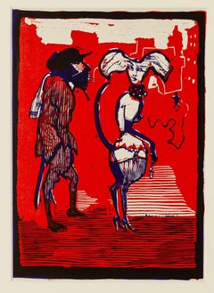 Figures - Original Woodcut by Mino Maccari - Mid 20th Century