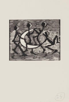 Figures with Half-Moon - Original Woodcut by Mino Maccari - Mid-20th Century